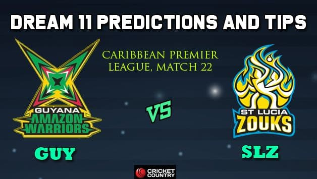 Dream11 Team Guyana Amazon Warriors vs St Lucia Zouks Match 22 Caribbean Premier League 2019 – Cricket Prediction Tips For Today's T20 Match GUY vs SLZ at St Lucia