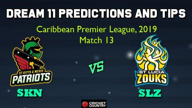 Dream11 Team St Kitts and Nevis Patriots vs St Lucia Zouks Match 13 Caribbean Premier League 2019 – Cricket Prediction Tips For Today's T20 Match SKN vs SLZ at St Kitts