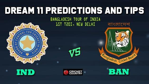 IND vs BAN Dream11 Team India vs Bangladesh, 1st T20I, Bangladesh tour of India 2019 – Cricket Prediction Tips For Today's Match IND vs BAN at New Delhi