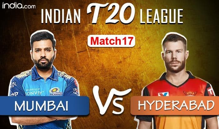 Live ipl cricket score mivs srh mumbai indians vs sunrisers hyderabad live updates and latest news playing 11 rohit sharma wins the toss elected to bat first against srh 4162219