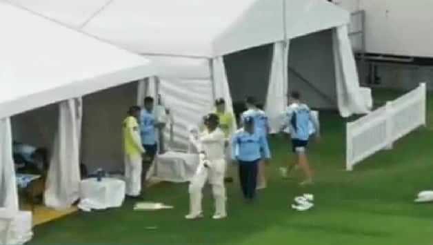 VIDEO: Mitchell Starc throws bat in anger as Peter Nevill declared while he was on 86