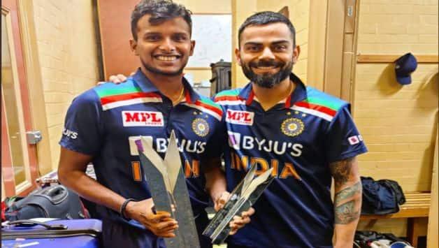 IND vs AUS: T Natrajan teared up after receiving Virat Kohli handed him T20I Trophy