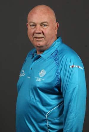 Australian umpire Steve Davis stands in 100th ODI