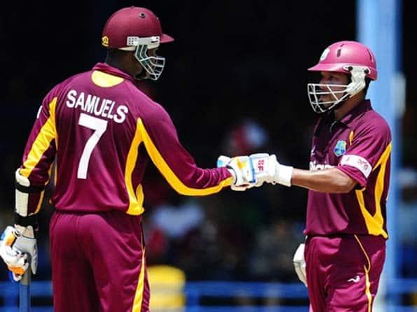 Sarwan, Samuels half-century propel Windies to 214