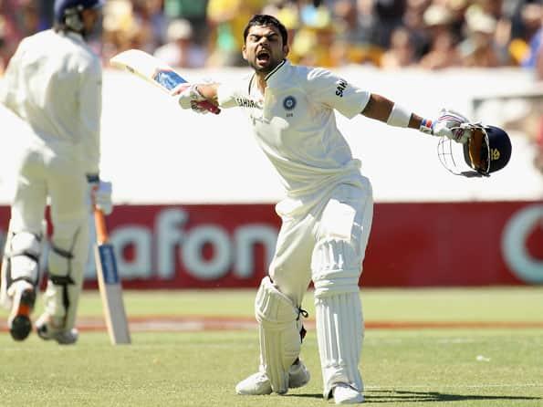 Virat Kohli slams his maiden Test century in fourth Test at Adelaide