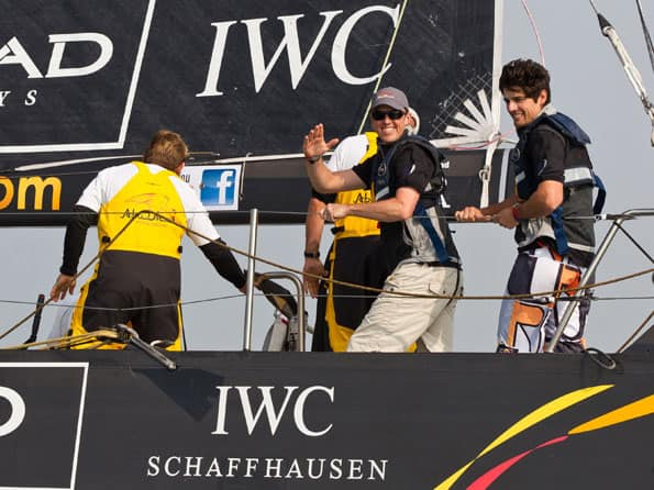 England cricketers jumps off the boat at Volvo Ocean Race in Abu Dhabi
