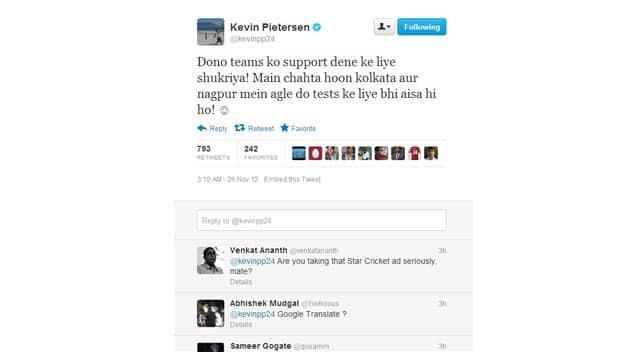 Kevin Pietersen thanks Mumbai crowd with a Hindi tweet