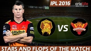 IPL 2016: Sunrisers Hyderabad beat Gujarat Lions by 4 wickets at Delhi, Stars and Flops