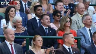 Kumar Sangakkara and Geoff Boycott attend Wimbledon