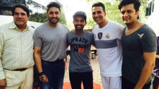 Photo: Ajinkya Rahane with Akshay Kumar, Abhishek Bachchan and others from the star cast of Housefull 3