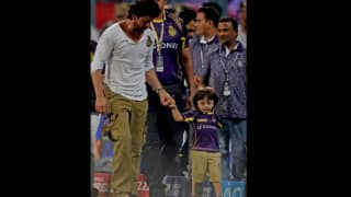 Watch: Shahrukh Khan's cute celebration with son AbRam after KKR's win over KXIP in IPL 9