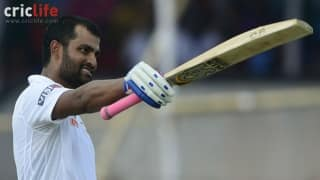 Tamim Iqbal celebrates after scoring a Test century