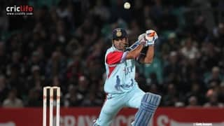 HAIL-MATE: MS Dhoni plays with tri-colour helmet for Help for Heroes XI