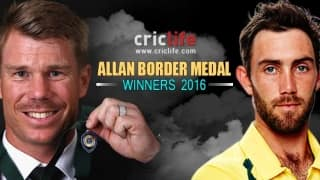 David Warner, Glenn Maxwell rewarded at the Allan Border Medal 2016