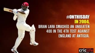 Brian Lara scripts history in Test cricket with his determined knock