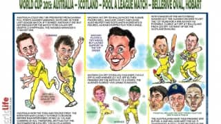 ICC Cricket World Cup 2015: Australia vs Scotland, Pool A match in Hobart in caricatures