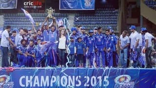 Mumbai Indians celebrate their domination in the IPL at Wankhede Stadium
