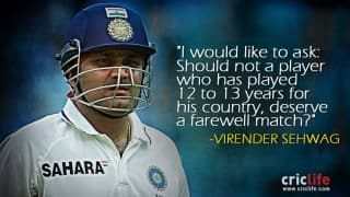 """Virender Sehwag gets upset over not playing a """"farewell match"""""""