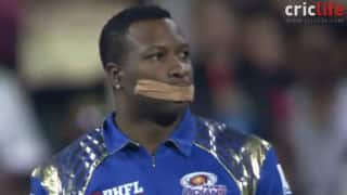 IPL 2015: Kieron Pollards tapes his mouth after umpire tells him to shut up