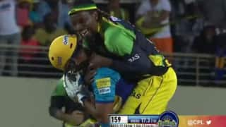 Hilarious: When Chris Gayle celebrated the 'winning wicket' with the opponent