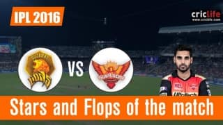 IPL 2016, Match 15: Sunrisers Hyderabad beat Gujarat Lions by 10 wickets at Rajkot, Stars and Flops