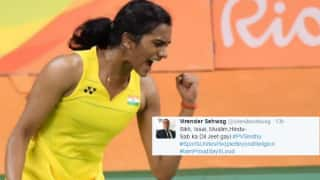 Virender Sehwag and other Indian cricketers congratulate PV Sindhu for assuring country a medal in badminton at Rio Olympics