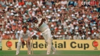 Cricket World Cup 1983: Mohinder Amarnath plays a drive against England in the semi-final