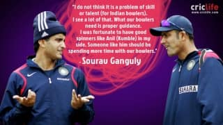 Sourav Ganguly wants Anil Kumble to mentor Team India bowlers