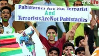 A banner that echoes the sentiments of cricket fans in terror-ravaged Pakistan