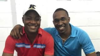 Trinidadian giants meet-up: Brian Lara and Dwayne Bravo train together
