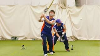Video: Eoin Morgan tries out visually impaired cricket