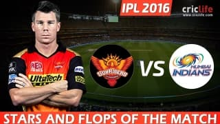 IPL 2016, Match 12: Sunrisers Hyderabad beat Mumbai Indians by 7 wickets at Hyderabad, Stars and Flops