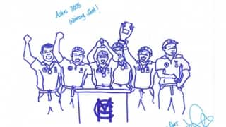 Past and present England Ashes heroes draw caricatures to raise funds!