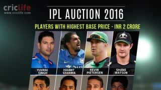 IPL auction 2016: Marquee players and ones with highest base price