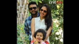 Parthiv Patel with wife Avni, and daughter Venika