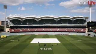 Phillip Hughes's Australia Test cap number painted on the Adelaide Oval ground