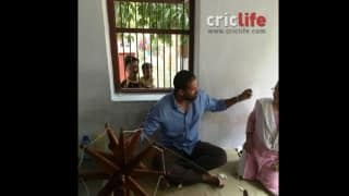 Yusuf Pathan spinning yarn at Gandhi Ashram
