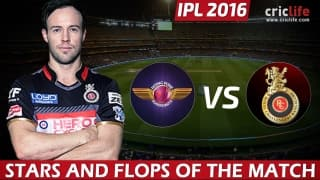 IPL 2016, Match 16: Royal Challengers Bangalore beat Rising Pune Supergiants by 13 runs at Pune, Stars and Flops