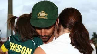 An emotional moment for Mitchell Johnson on his farewell day
