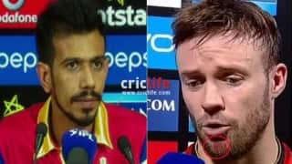 Yuzvendra Chahal apologises to AB de Villiers after his victory celebration left the latter injured