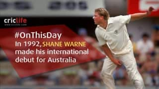 Shane Warne makes his Test debut