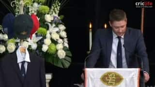 Michael Clarke pays an emotional tribute to Phil Hughes