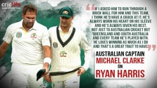 Ryan Harris receives awesome words of respect from captain Michael Clarke
