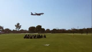 Aeroplane peeks-in during South African training