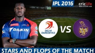 IPL 2016: Delhi Daredevils beat Kolkata Knight Riders by 27 runs at Delhi, Stars and Flops