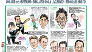 ICC Cricket World Cup 2015: New Zealand vs Bangladesh, Pool A match in Hamilton in caricatures