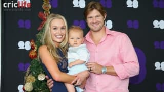 Shane Watson with his wife Lee and son Will