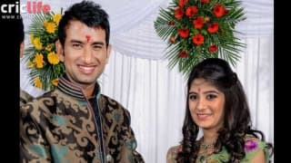 Cheteshwar Pujara and his wife Pooja Pabari