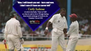 "When Curtly Ambrose threatened to ""knock out"" Steve Waugh"