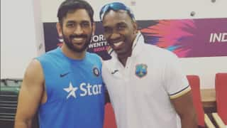 Photo: Dwayne Bravo clicks with MS Dhoni post India's lost against West Indies